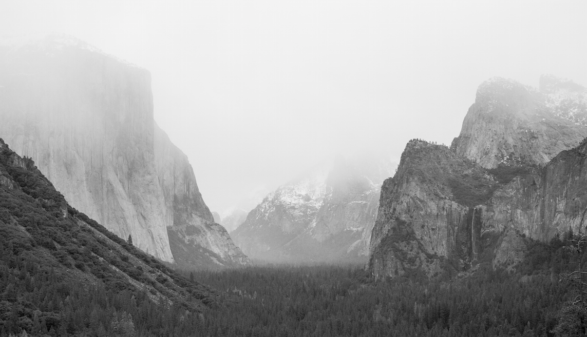 """Yosemite Valley before 4"""" of snowfall chased us out and on our way north."""