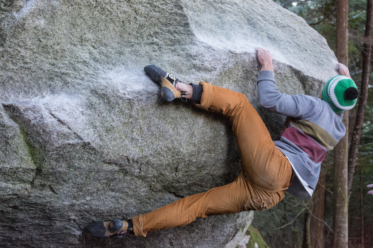 Beppe leaning into it. The pocket rip is the latest climbing trend.