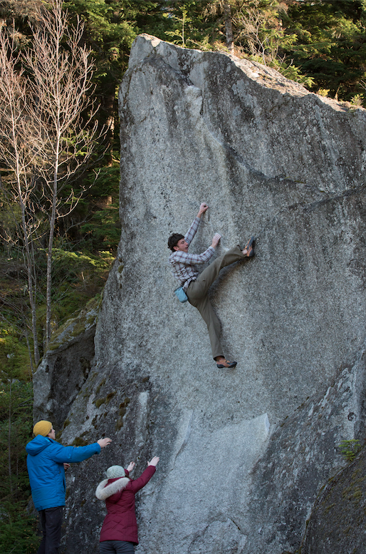 Brian doing his thing, Andrew and Diana wait below with hugs. Teenage Lobotomy, Squamish.