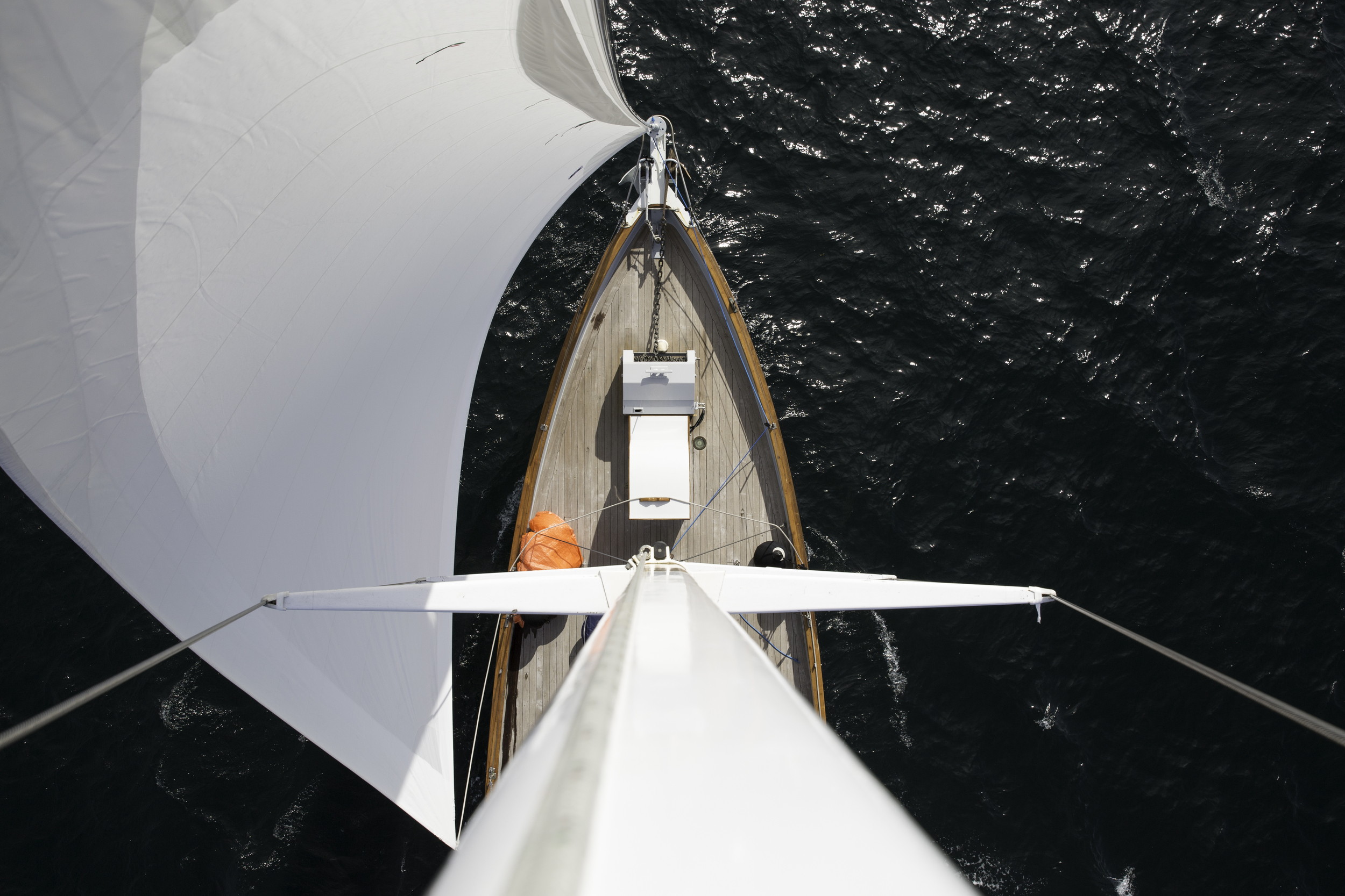 A fresh perspective of the  Passing Cloud  from her foremast.