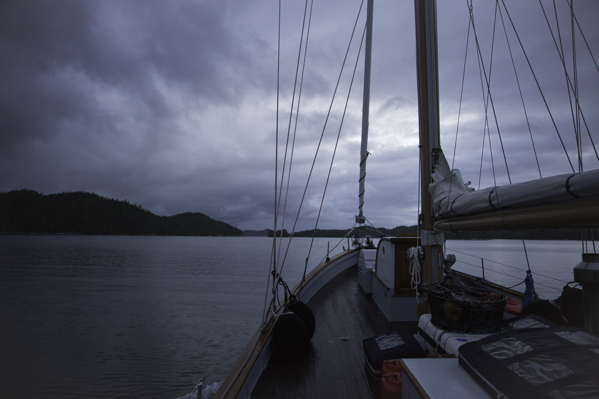 Early morning departure and transit between Calvert Island and Hecate Island south of Bella Bella. Next crossing, Hecate Strait.