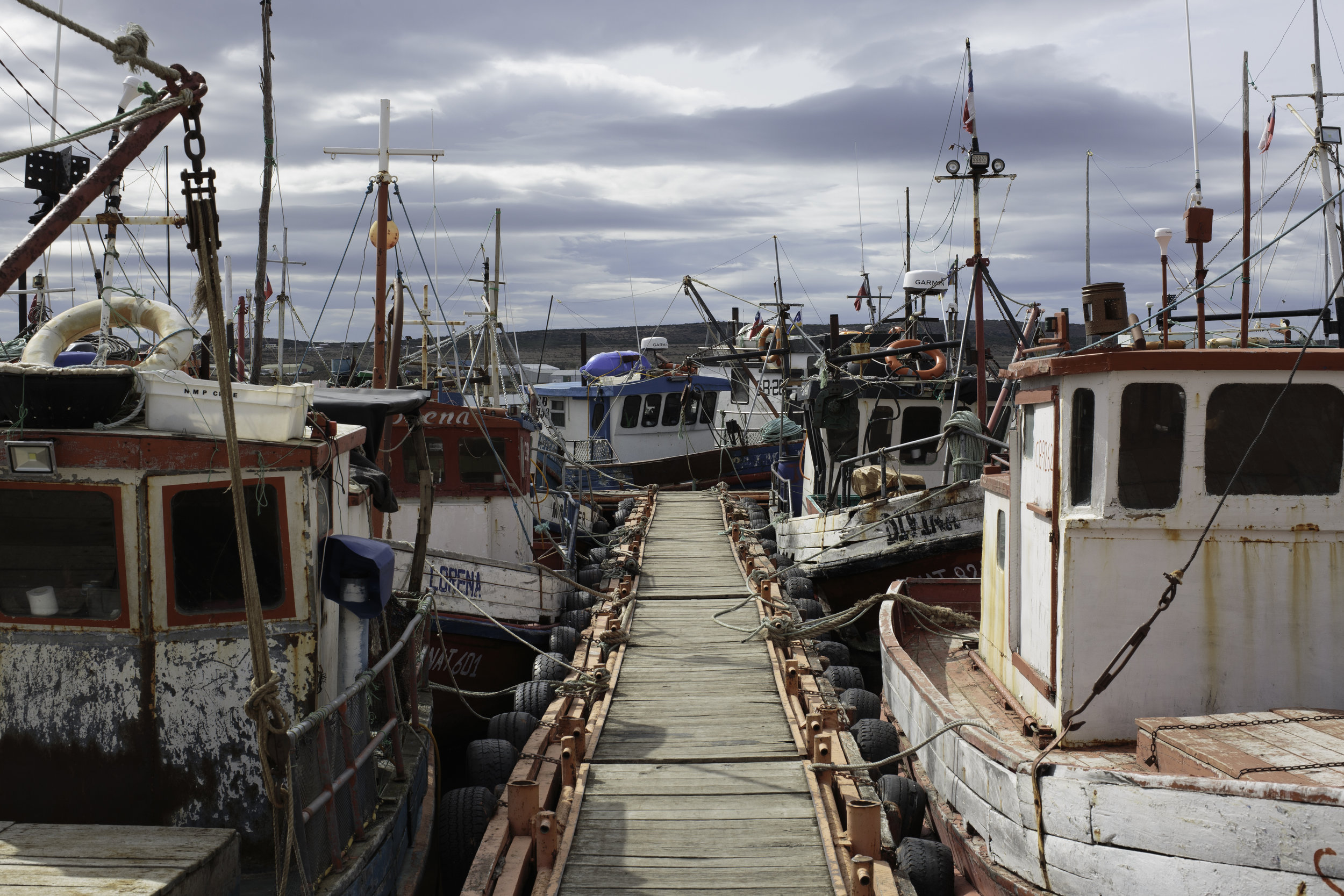 Fishing boats in Puerto Natales.