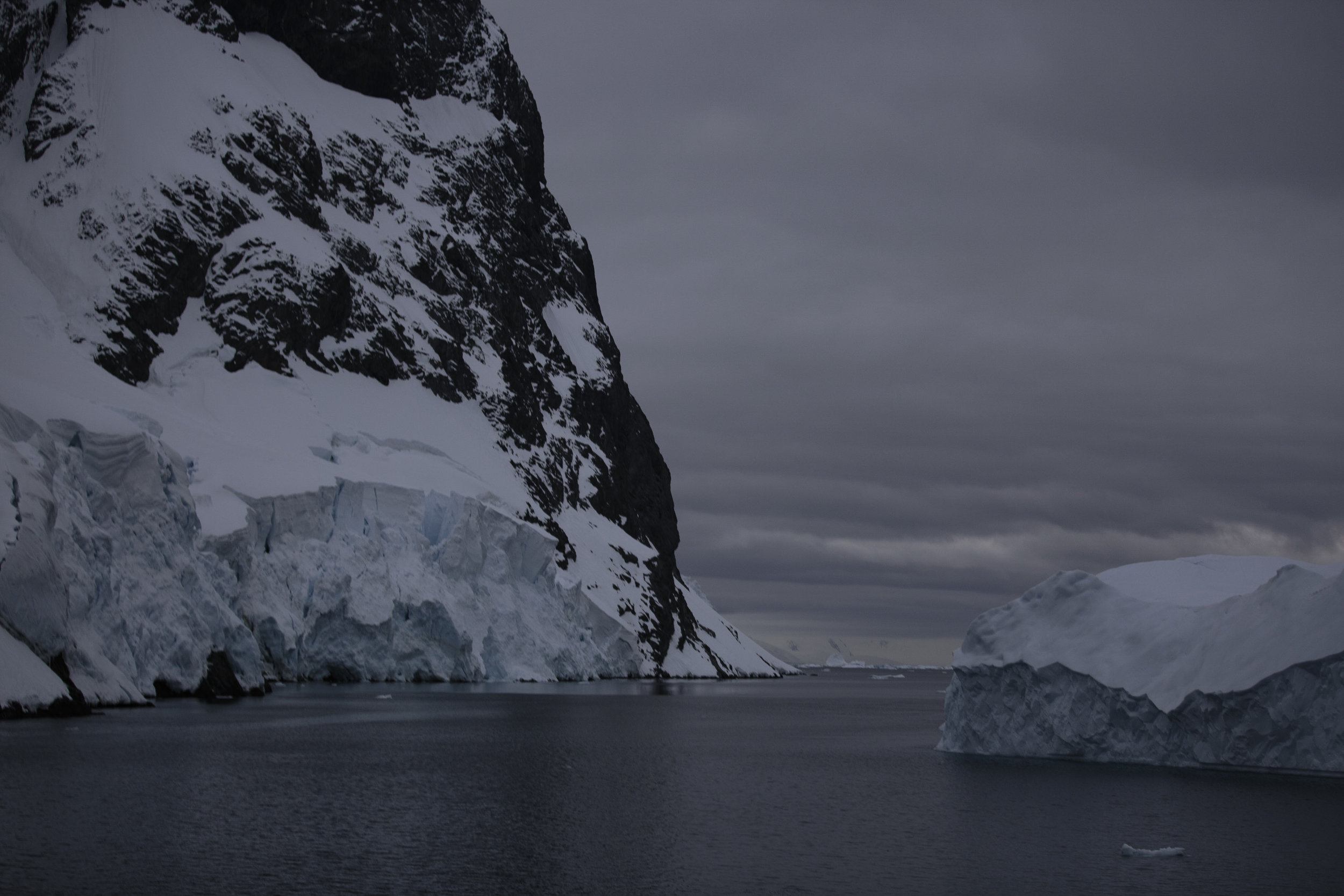 The Lemaire Channel almost completely blocked by icebergs floating into it.