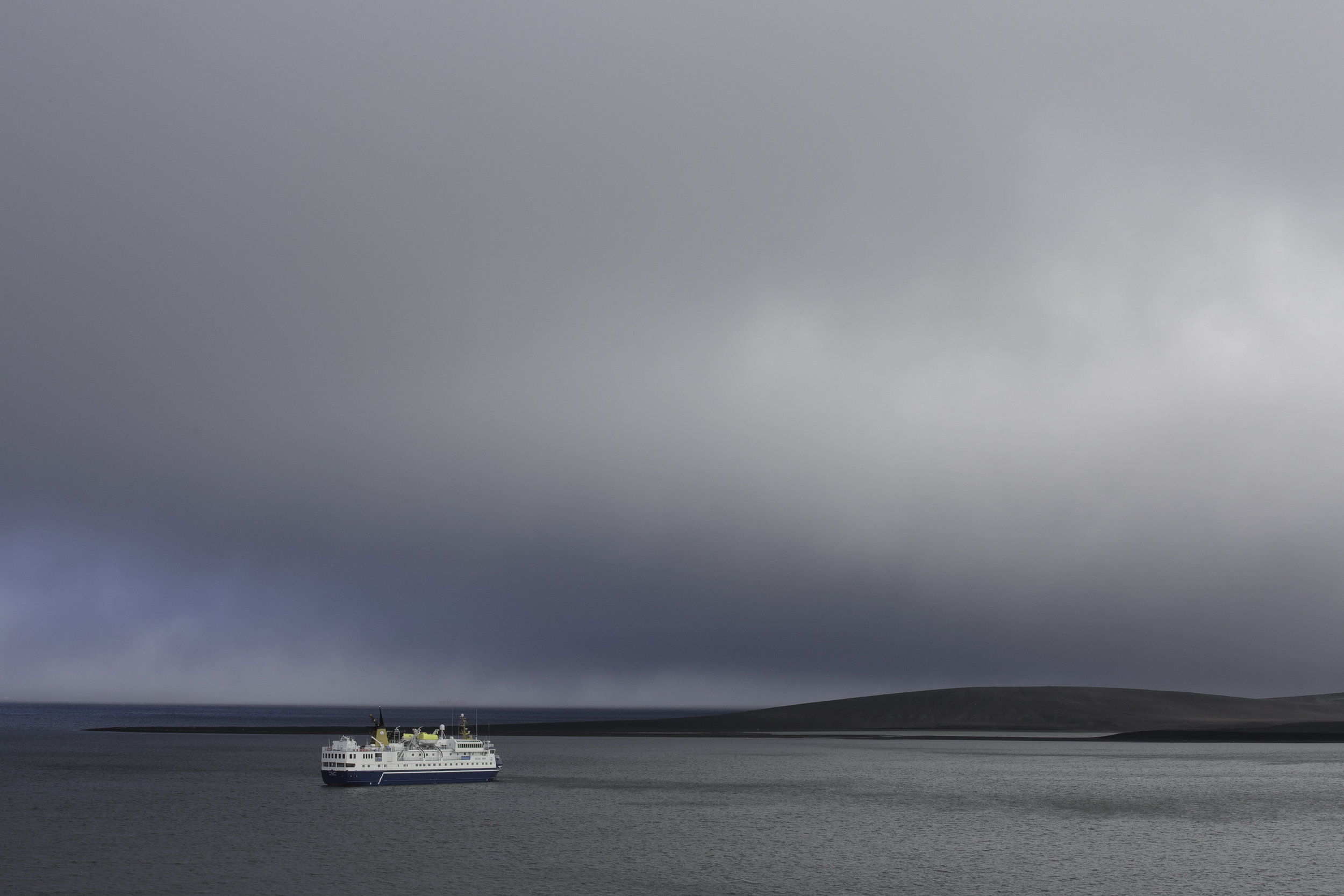 Ocean Nova at anchor in the caldera of the live volcano that is Deception Island.