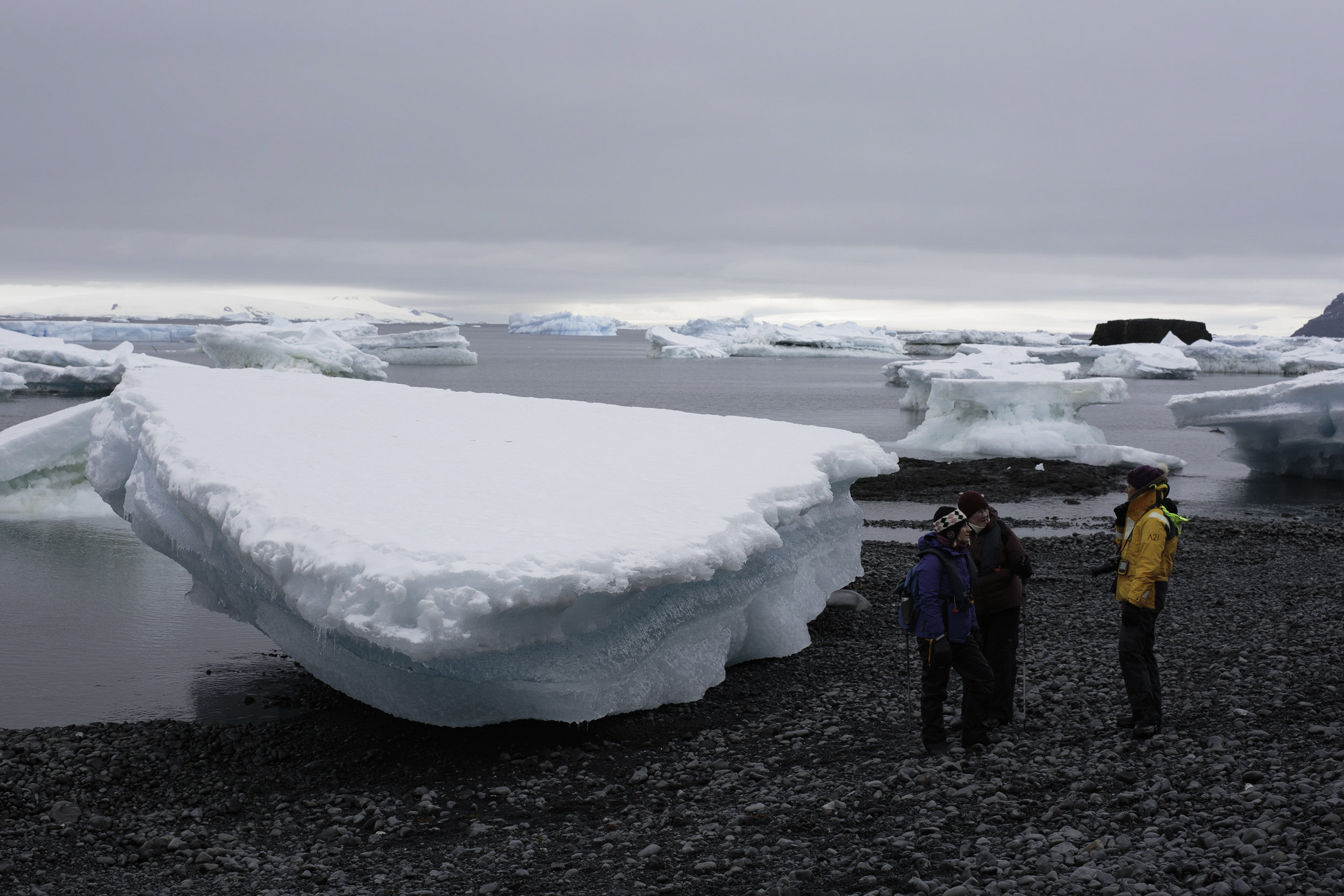 For scale: this small piece of ice would only show the top few inches when floating, the rest remains below the surface.