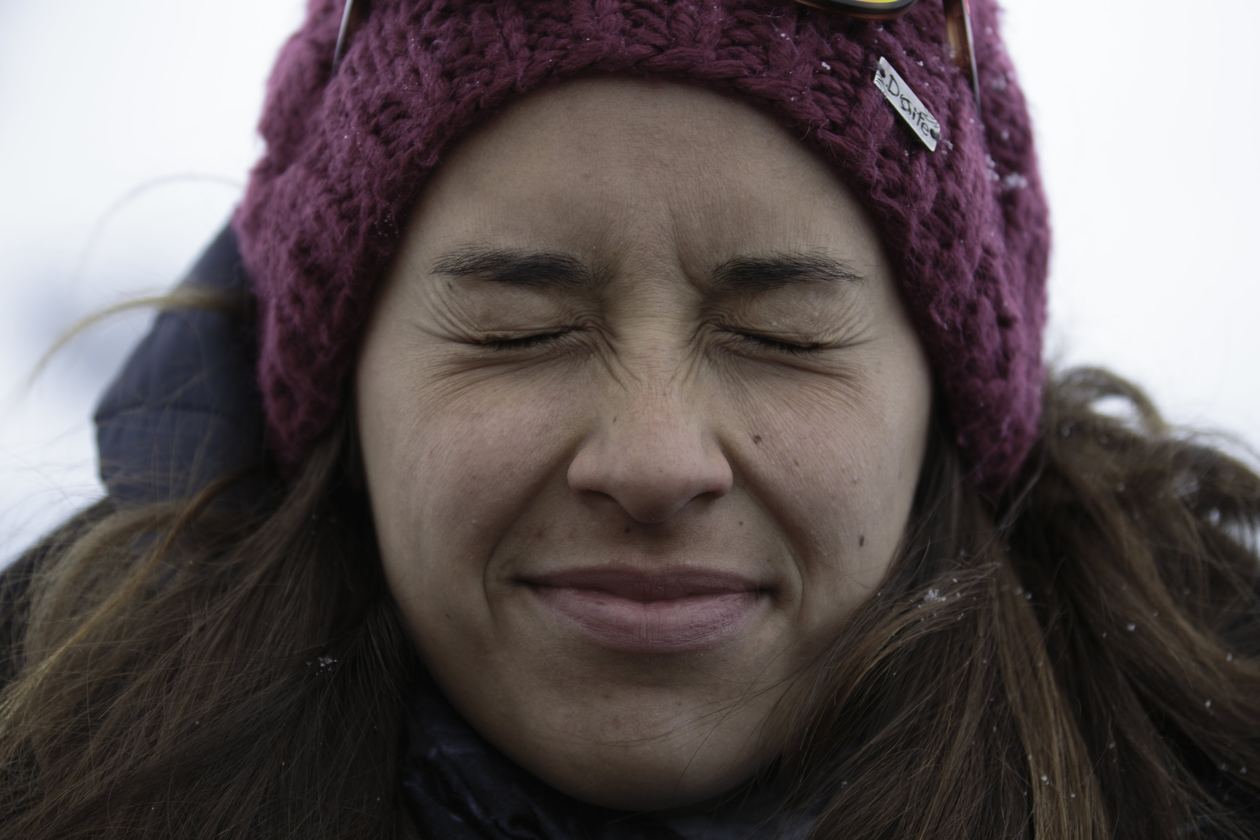 Paloma from Santiago, Chile, not stoked on the blowing snow.