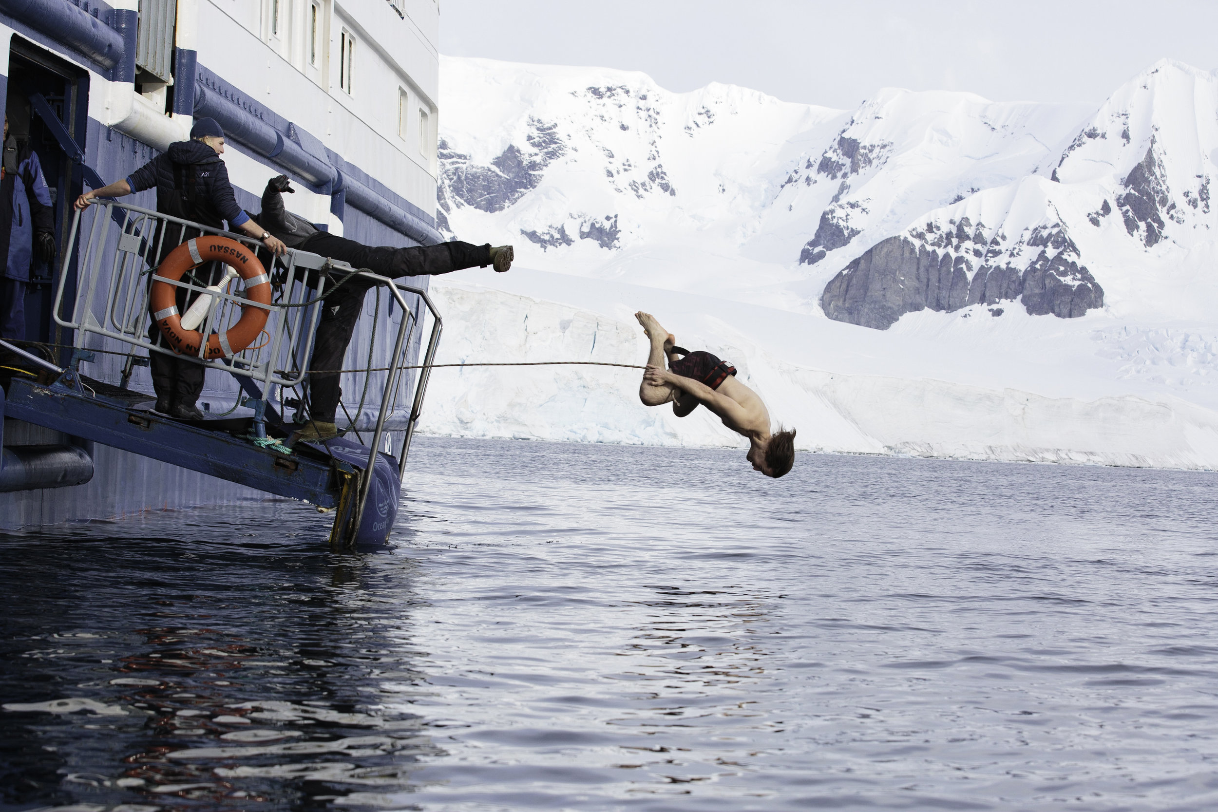A passenger takes the plunge.