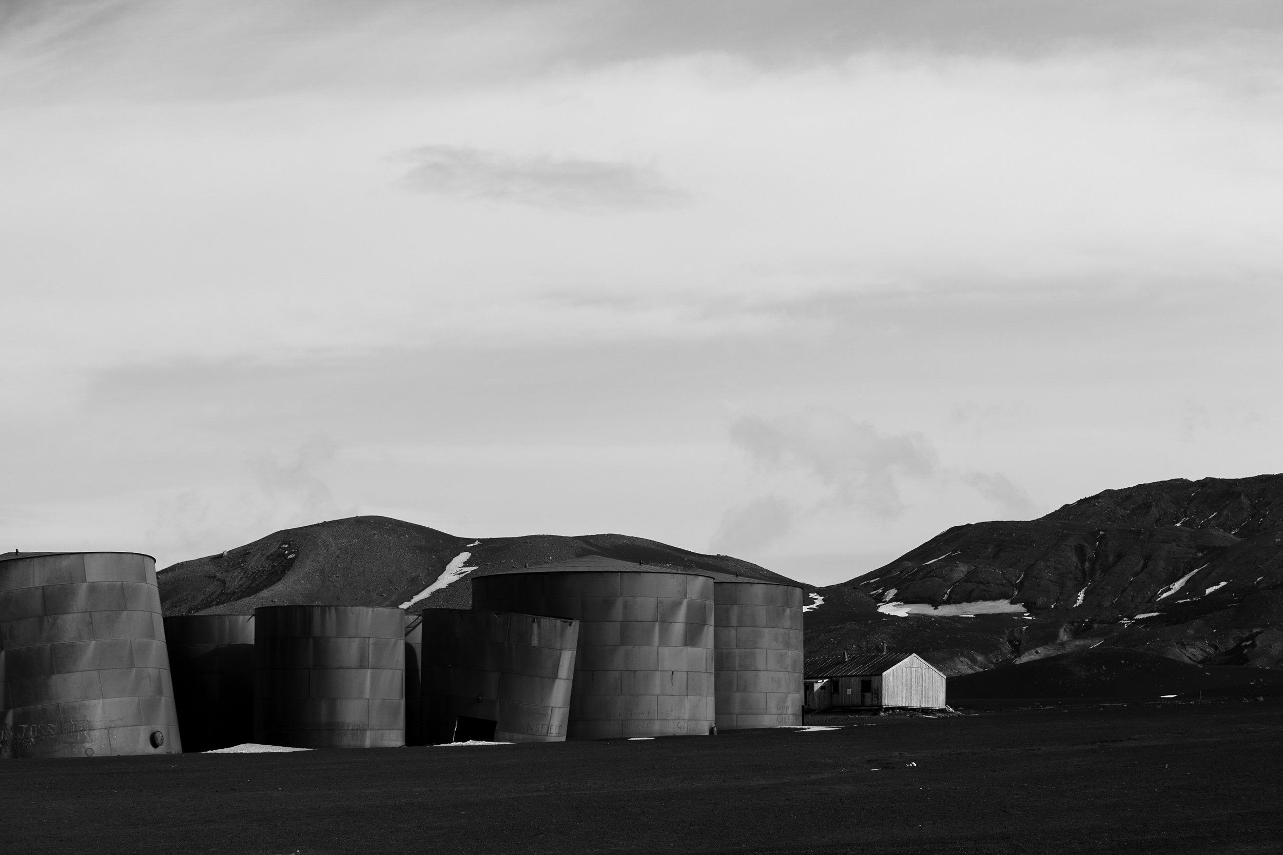 The abandoned whale oil tanks on Deception Island.