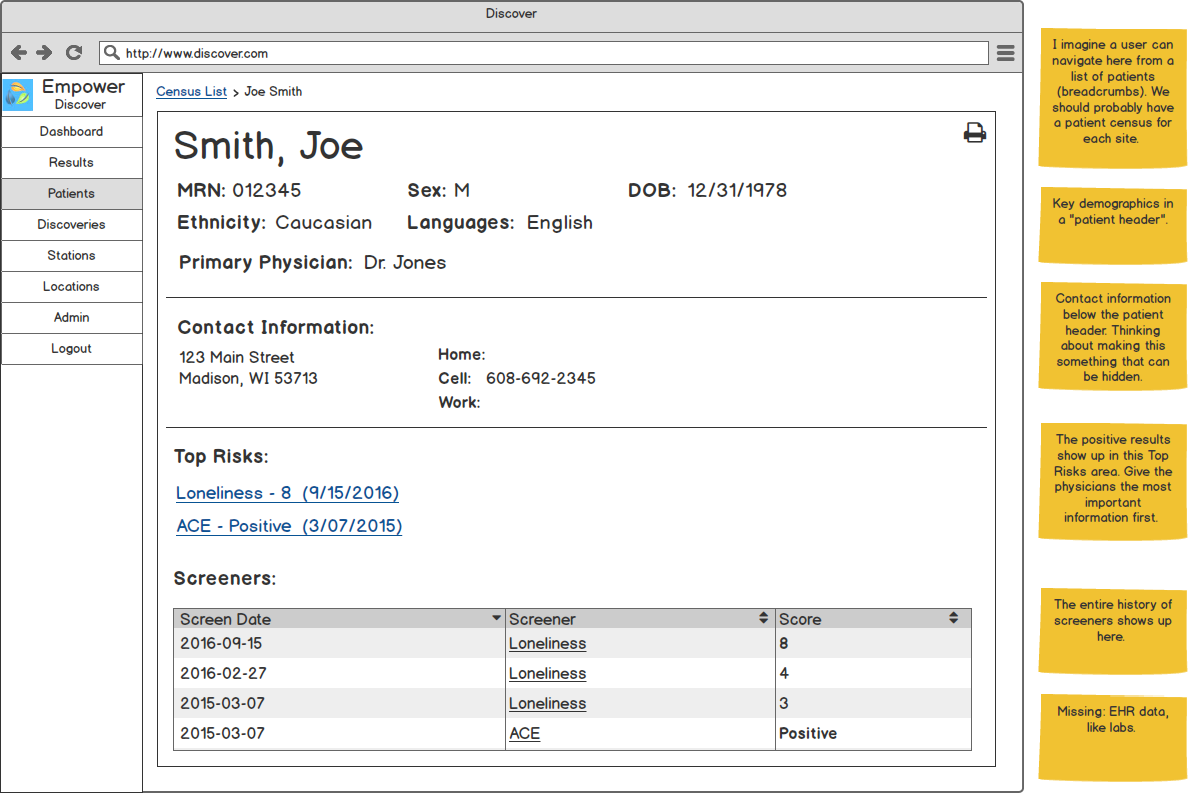 A Patient Profile page focused on just screener information.