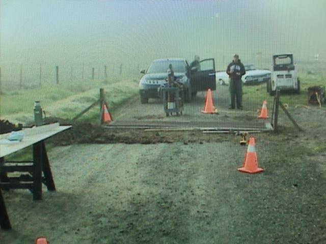 1. Create fake cattle guard on a desolate dirt road for crash scene