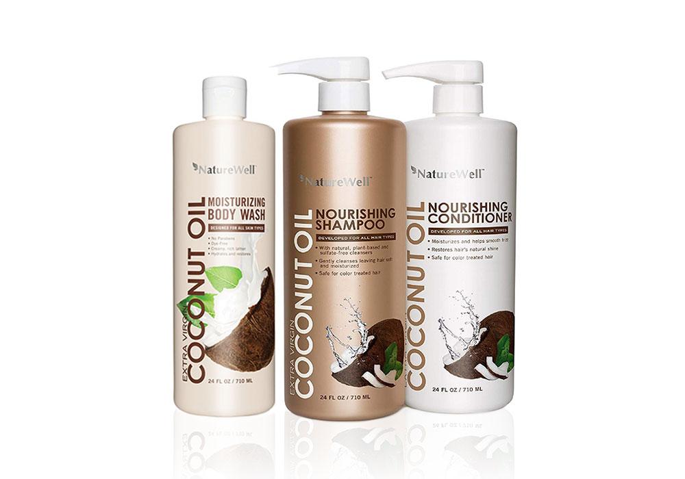 Coconut Oil Body Wash, Shampoo, and Conditioner
