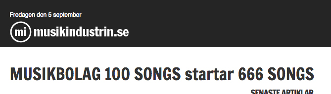 Musikindustrin about the start-up of 666 SONGS.
