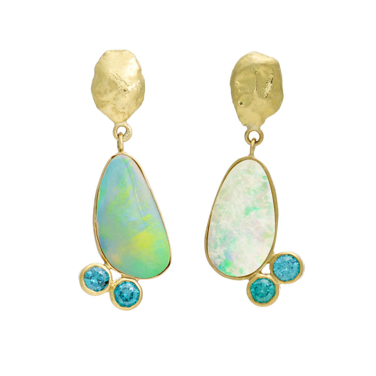 Drop earrings featuring blue diamonds and opal. Click  here