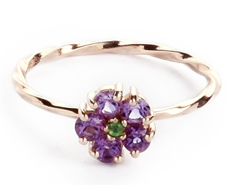 Hannah II  ring set with amethyst and tsavorite