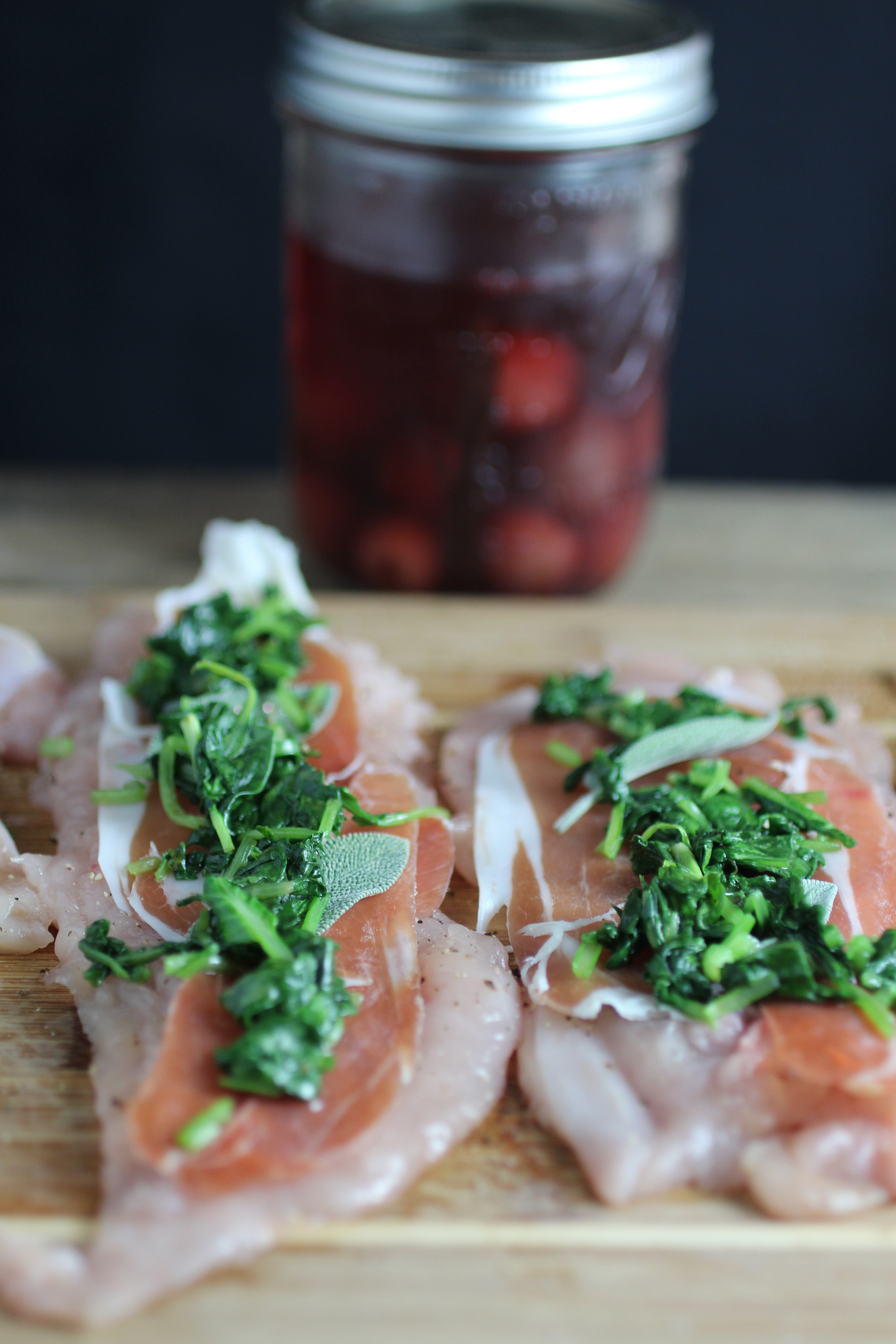 Brandied cherries are a great complement to the savory chicken and prosciutto.