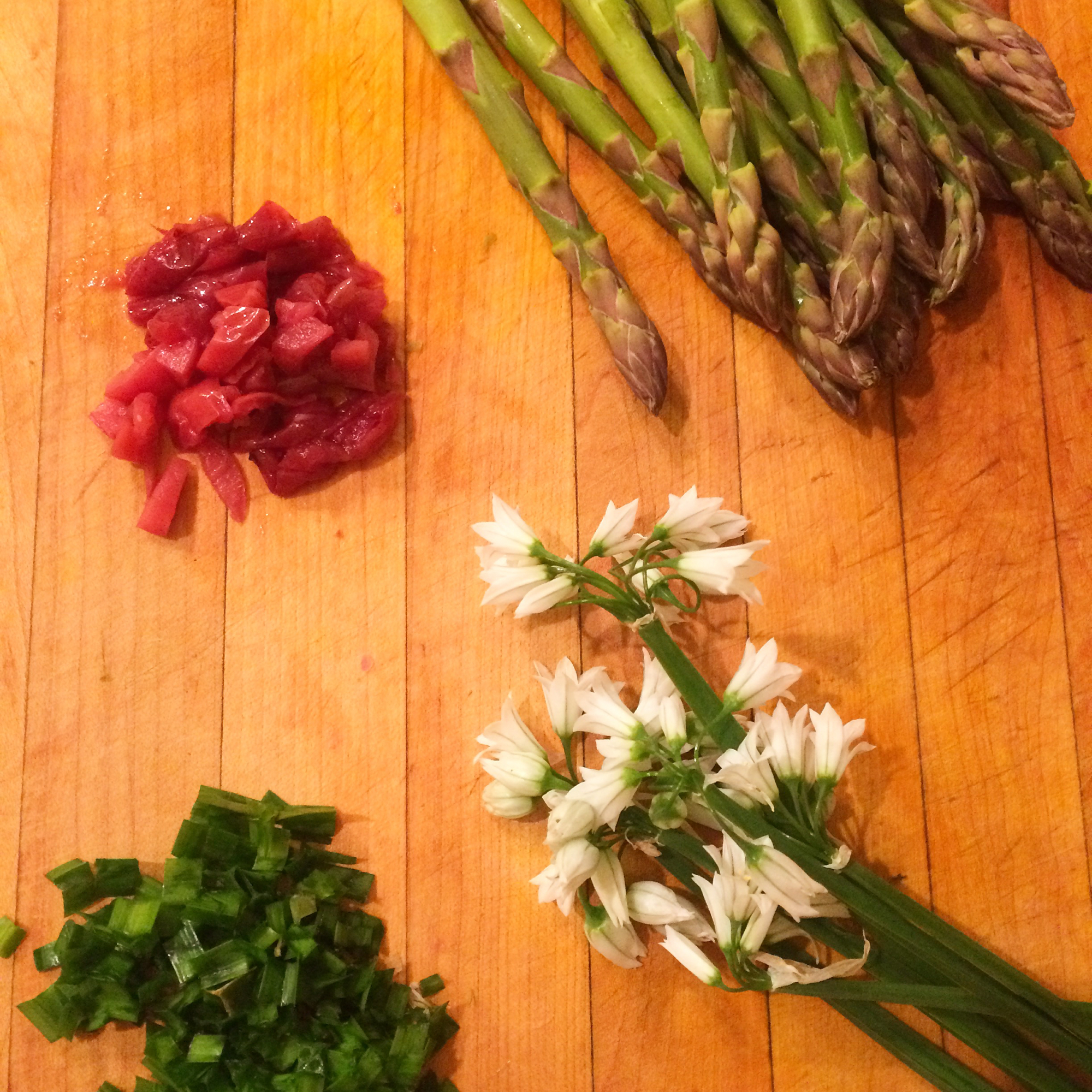 Springtime goods of asparagus and wild onion are amazing with umami flavors such as butter and umeboshi (or miso).