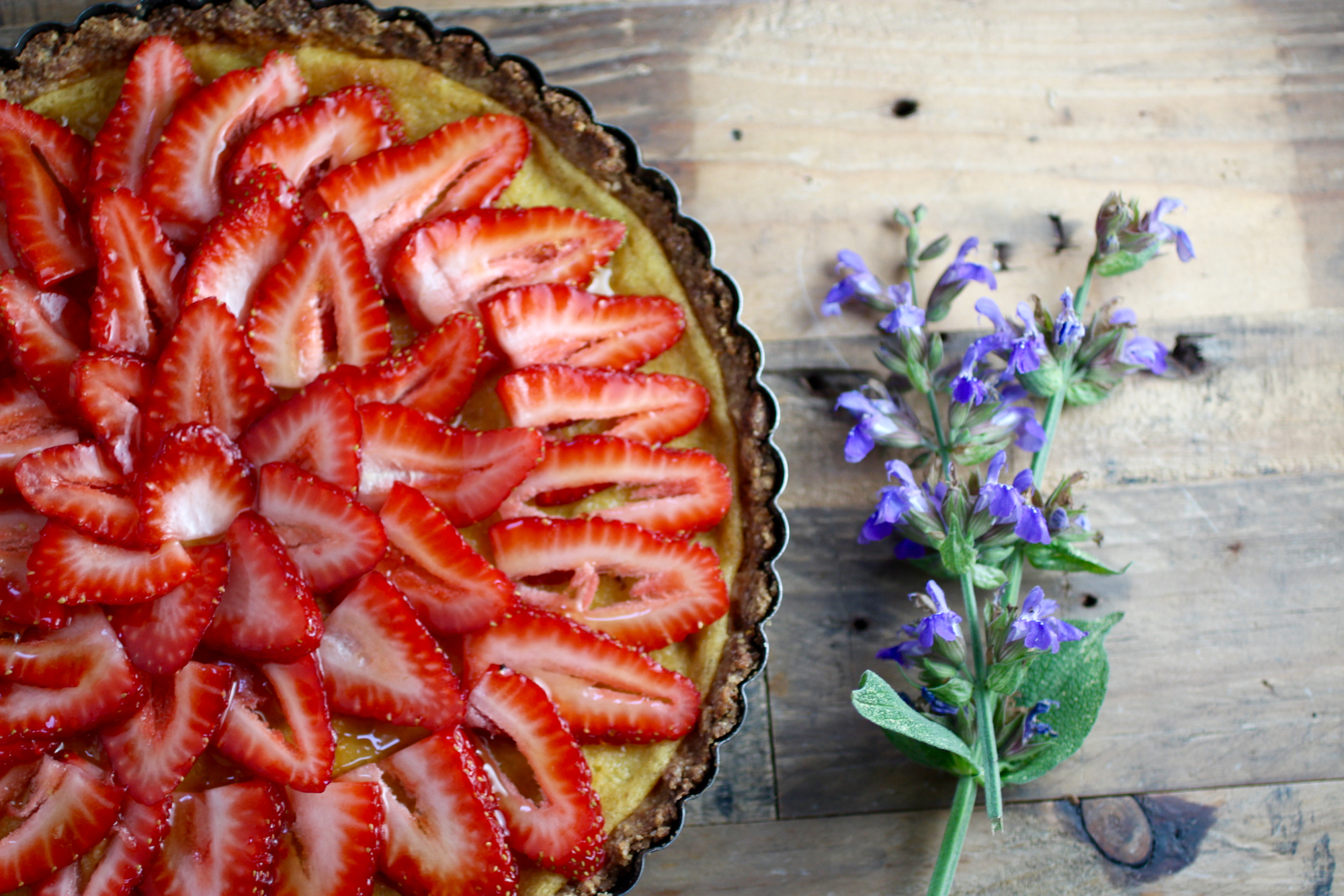 Strawberries laid out in concentric circles - now just awaiting the lavender and honey!