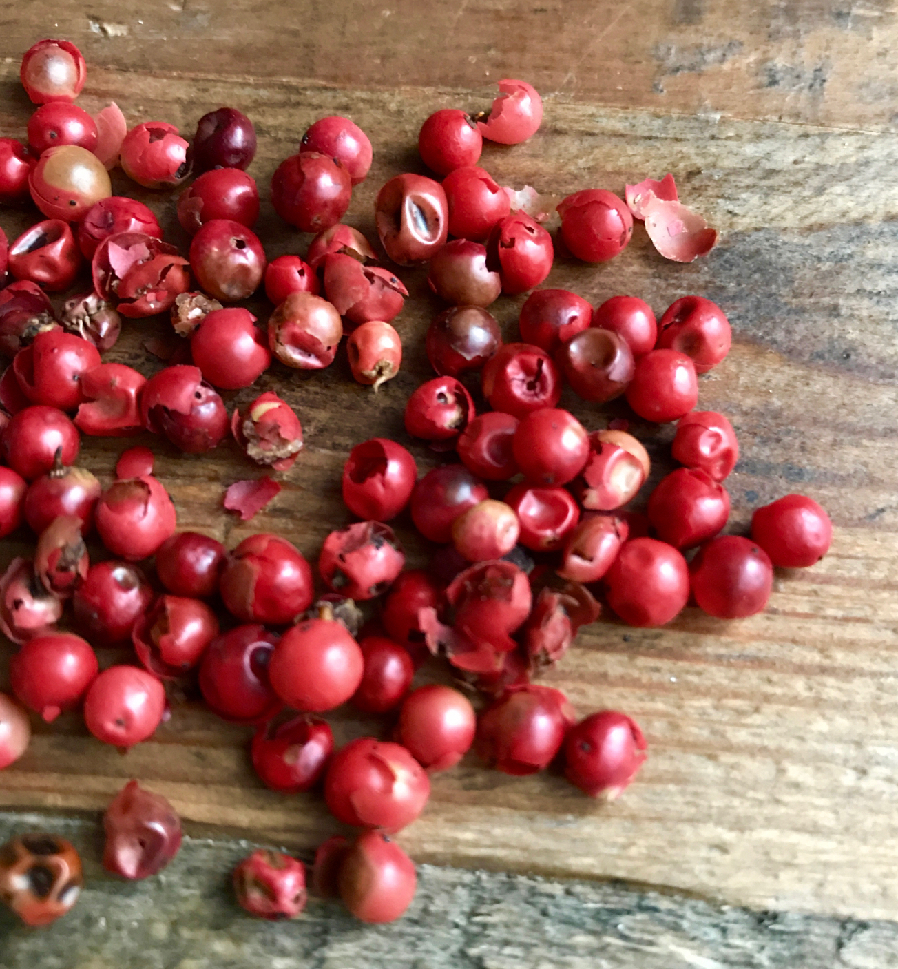Technically a dried fruit, pink peppercorn imparts a nice bright, subtly sweet peppery-ness.