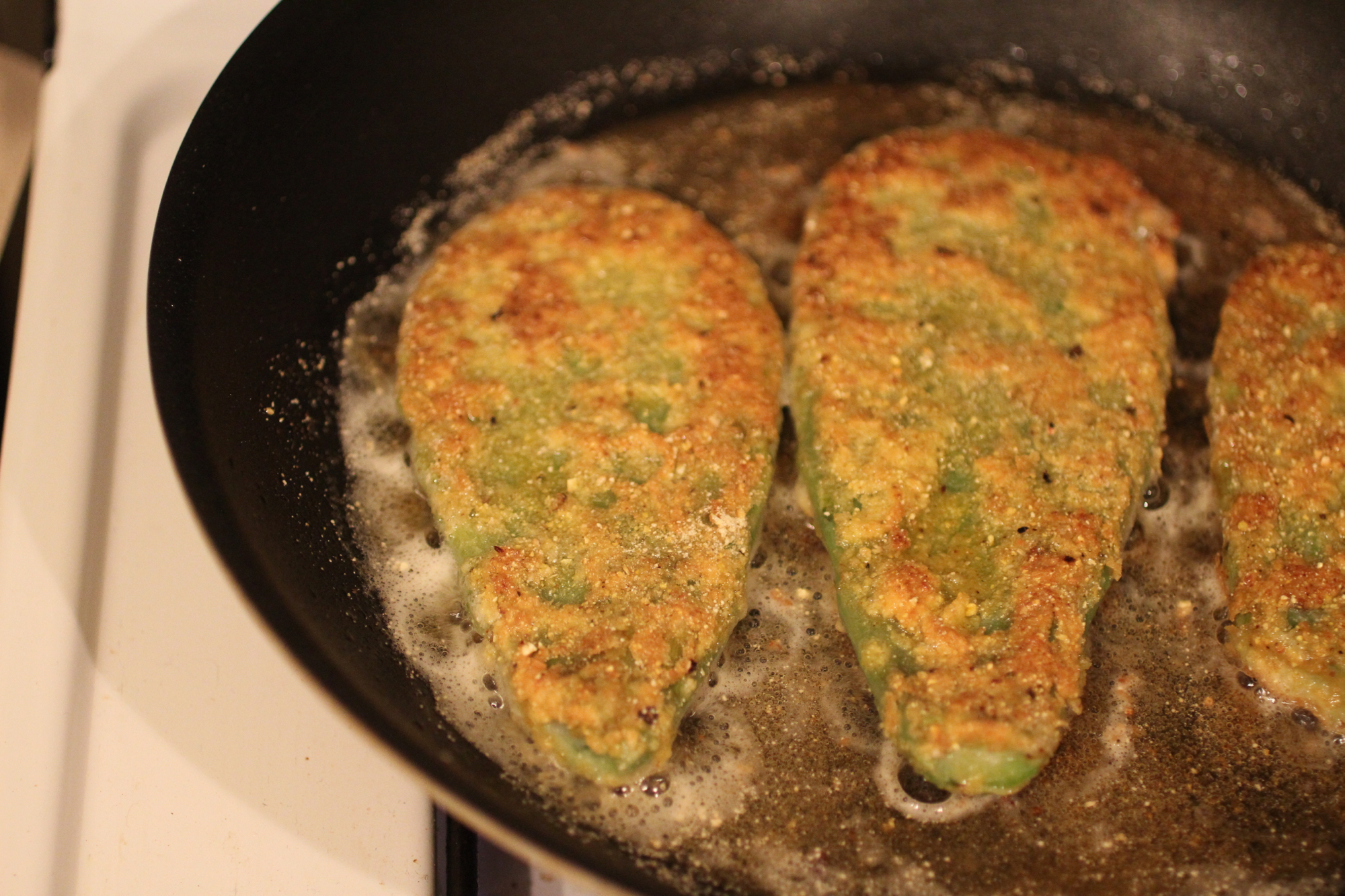Frying to a golden-brown.
