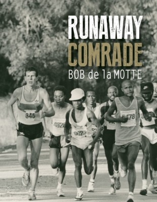 The cover photo was taken at the 50km JSE ultra marathon in August 1985. Bob and others jostling for gold medals after the marathon mark and in hot pursuit of race leader, Sam Ndala. Gibeon Moshaba in white cap and Ben Choeu in black cap. Bob won in 2:50.45. Photograph by Danie Coetzer
