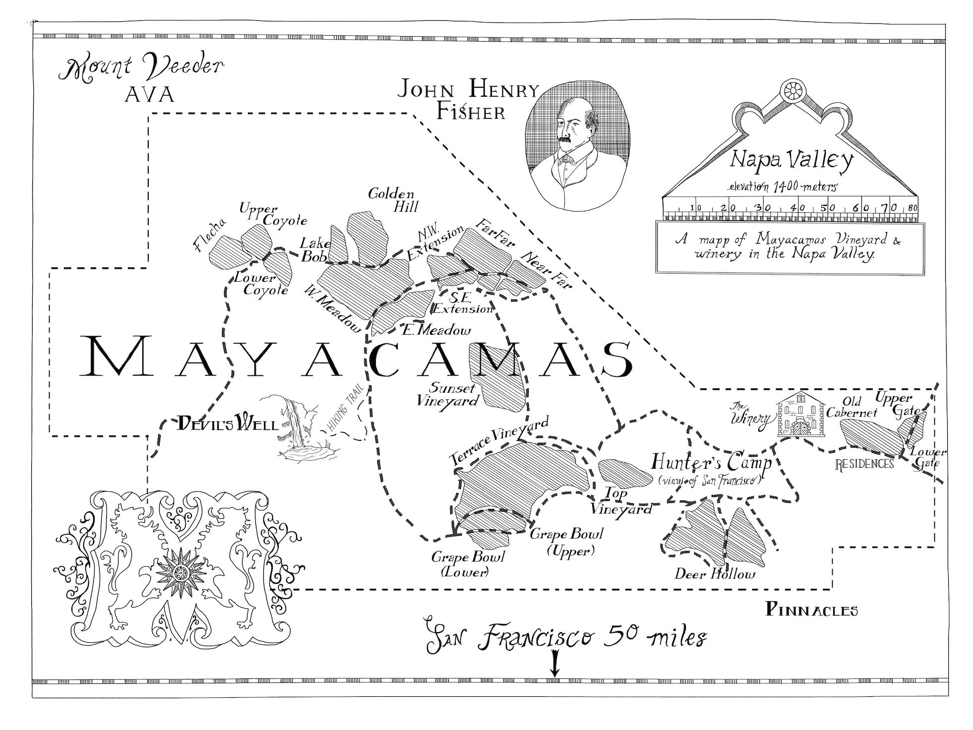 Map of Mayacamas Vineyard in Napa Valley. Made for 6' x 8' wall mounting, below.