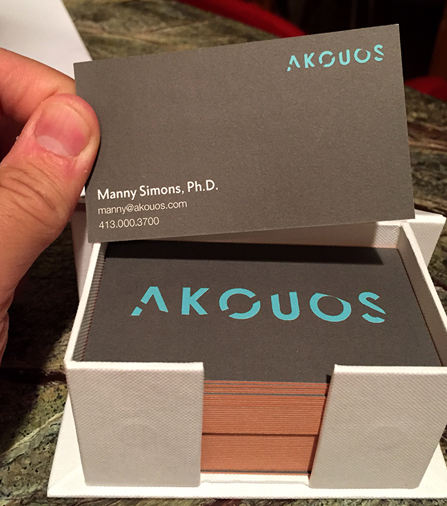 """Logo design for my brother's startup, Akouos. """"Akouo"""" is a Greek word meaning """"to hear"""". And since they aim to restore hearing loss, the negative space in the logotype is a full wavelength of a soundwave, representing the absence of sound."""