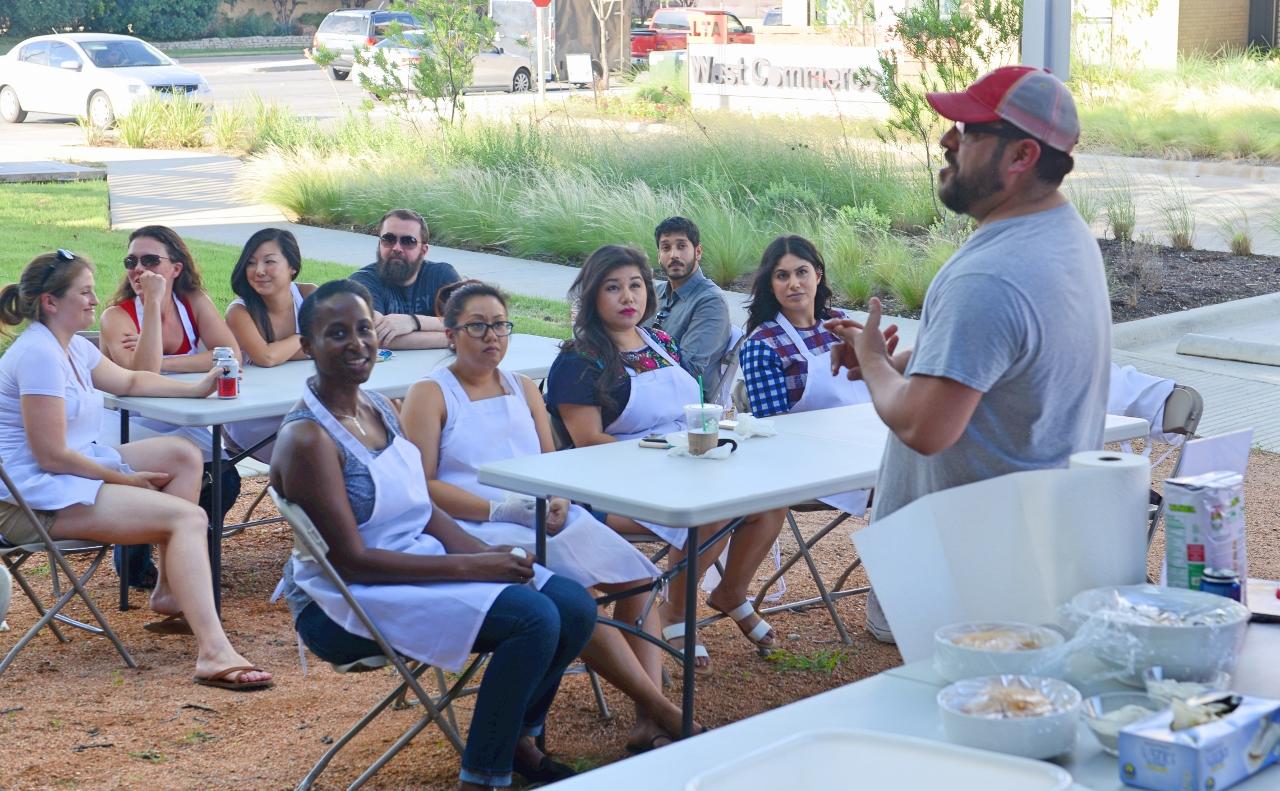 John Hernández of Casa Masa teaching the Art of Making Tamales. Commerce Street Night Market, June 24.