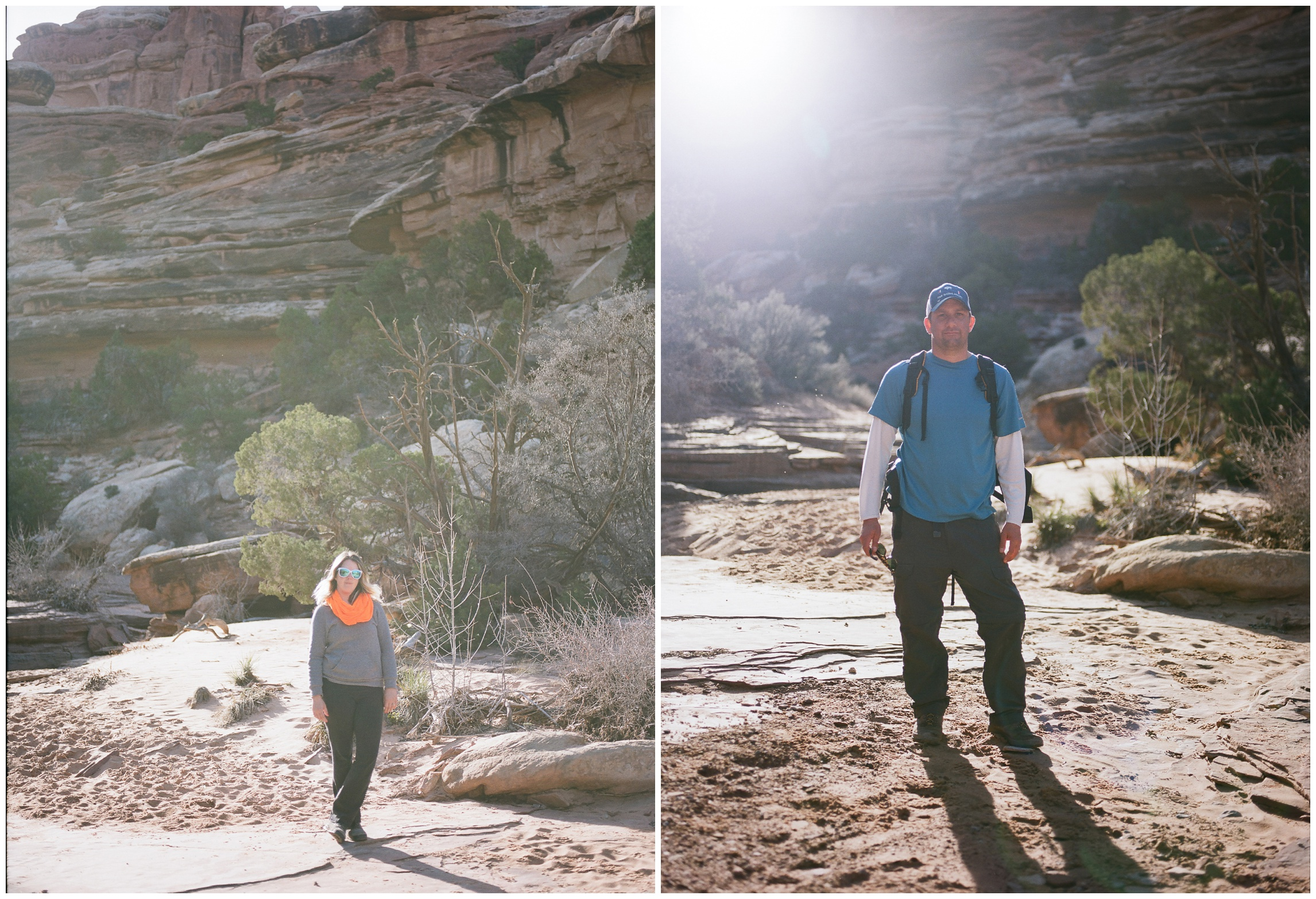 Sonja and Max Salzburg in Elephant Canyon, Canyonlands National Park on a warm spring day. Film photography by Max and Sonja Salzburg of Sonja K Photography.