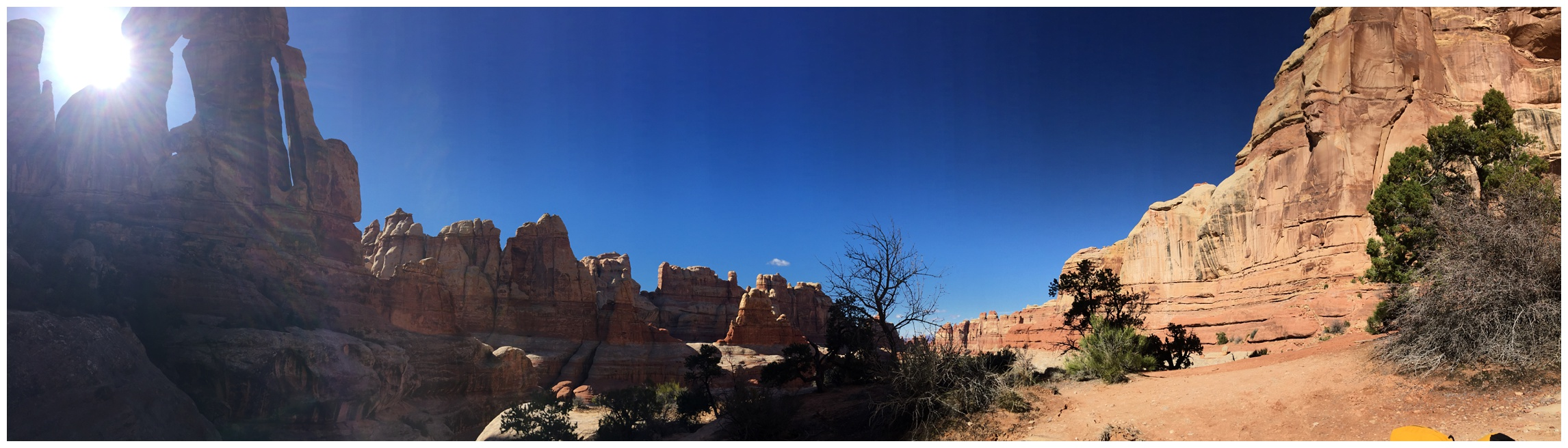 A panorama of Druid Arch and Elephant Canyon in Canyonlands National Park. Photography by Sonja Salzburg of Sonja K Photography.