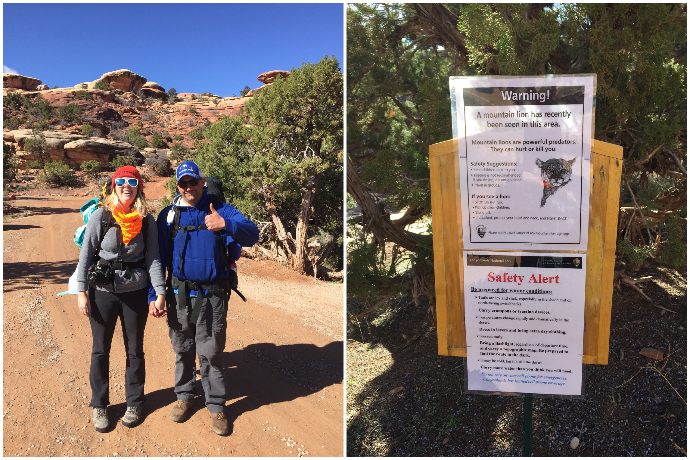 Sonja and Max at the Chesler Park Trailhead. A mountain lion warning for the area.