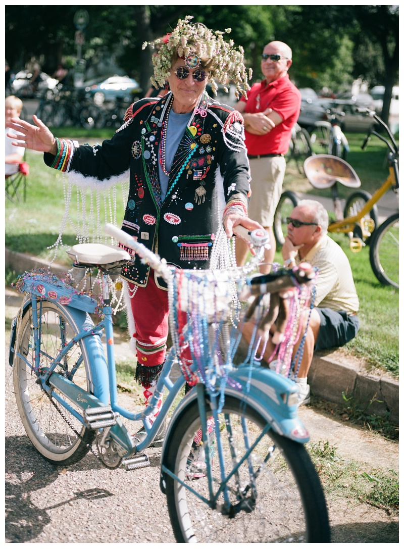 A Tour de Fat reveler in Fort Collins, Colorado Film photography by Sonja Salzburg of Sonja K Photography.