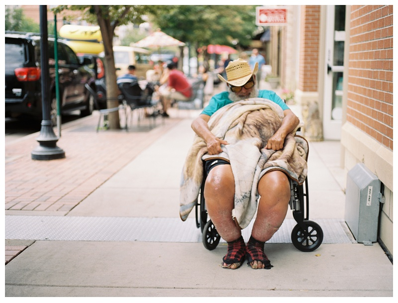 A homeless man in Denver, Colorado. Portrait photography by Sonja Salzburg of Sonja K Photography.