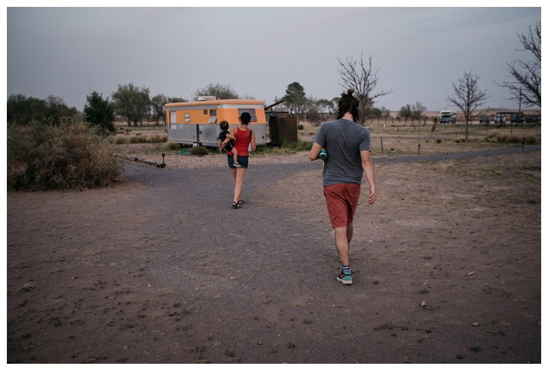 Walking back to the vintage trailers at El Cosmico in Marfa, Texas. Travel photography by Sonja Salzburg of Sonja K Photography.