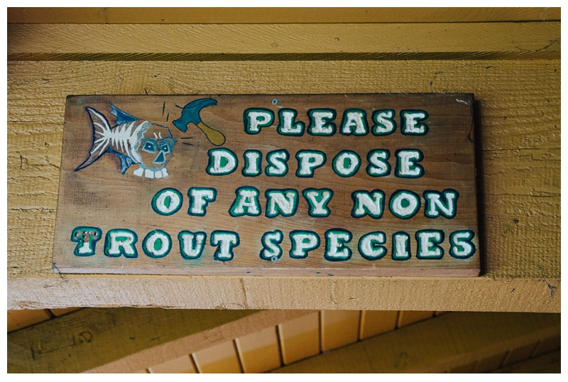 "A sign instructing anglers to ""Dispose of any non-trout species"" at Henderson Springs Ranch near Big Bend and Redding, California. Travel and fishing photography by Max Salzburg of Sonja K Photography."