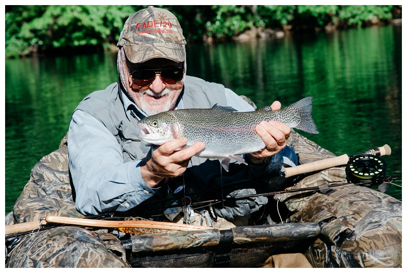 Dick Brashears with a nice Rainbow Trout at Henderson Springs near Big Bend and Redding, California. Travel and fishing photography by Max Salzburg of Sonja K Photography.