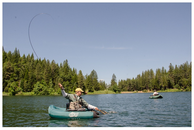 Bruce Pederson with a fish on at Henderson Springs Ranch near Big Bend and Redding, California. Travel and angling photography by Max Salzburg of Sonja K Photography.