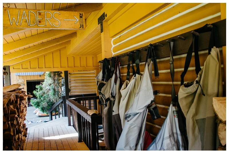 The wader rack at Henderson Springs Ranch near Big Bend and Redding, California. Travel and angling photography by Max Salzburg of Sonja K Photography.