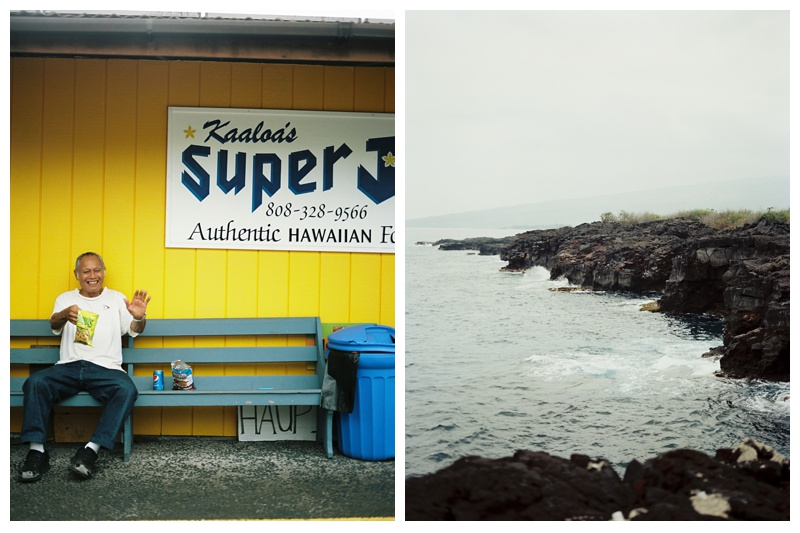 Views around the Big Island of Hawaii including Kaaloa's Super J's Hawaiian Restaurant. Travel film photography by Sonja Salzburg of Sonja K Photography.