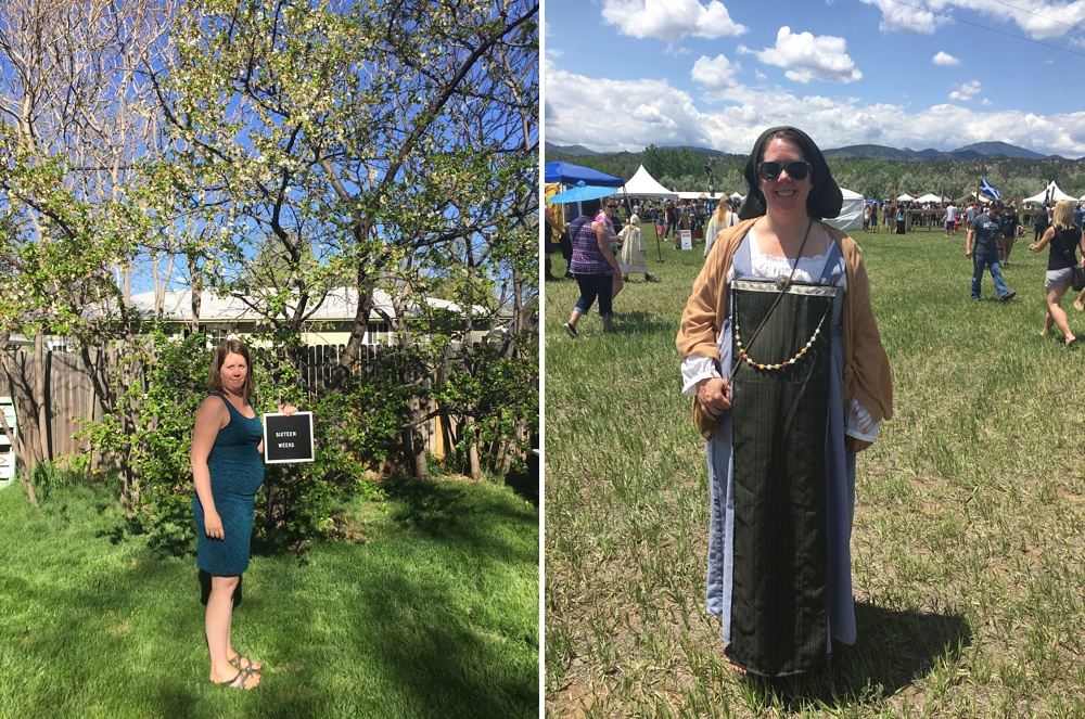 trying to actually document this little baby weekly - but failing to be consistent at all. Also, at the Ren Fest in Loveland,I rocked a sweet costume made by my talented  cousin  who even added a strip of honeybee ribbon to my ensemble!