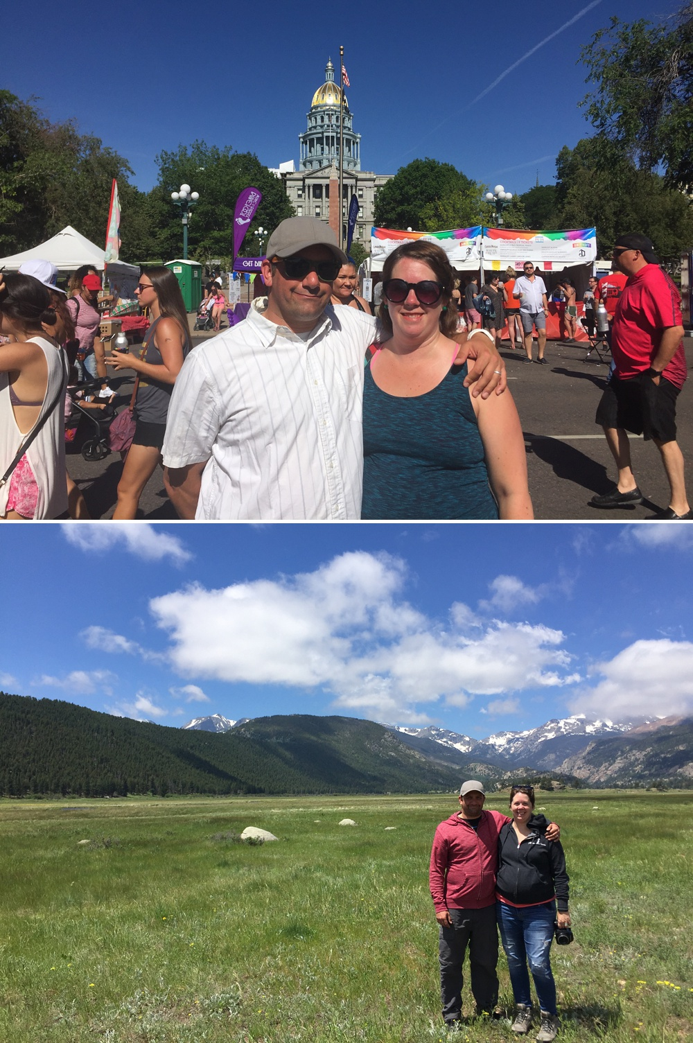 above: Max and me at PRIDE, Denver, and then in Rocky Mountain National Park