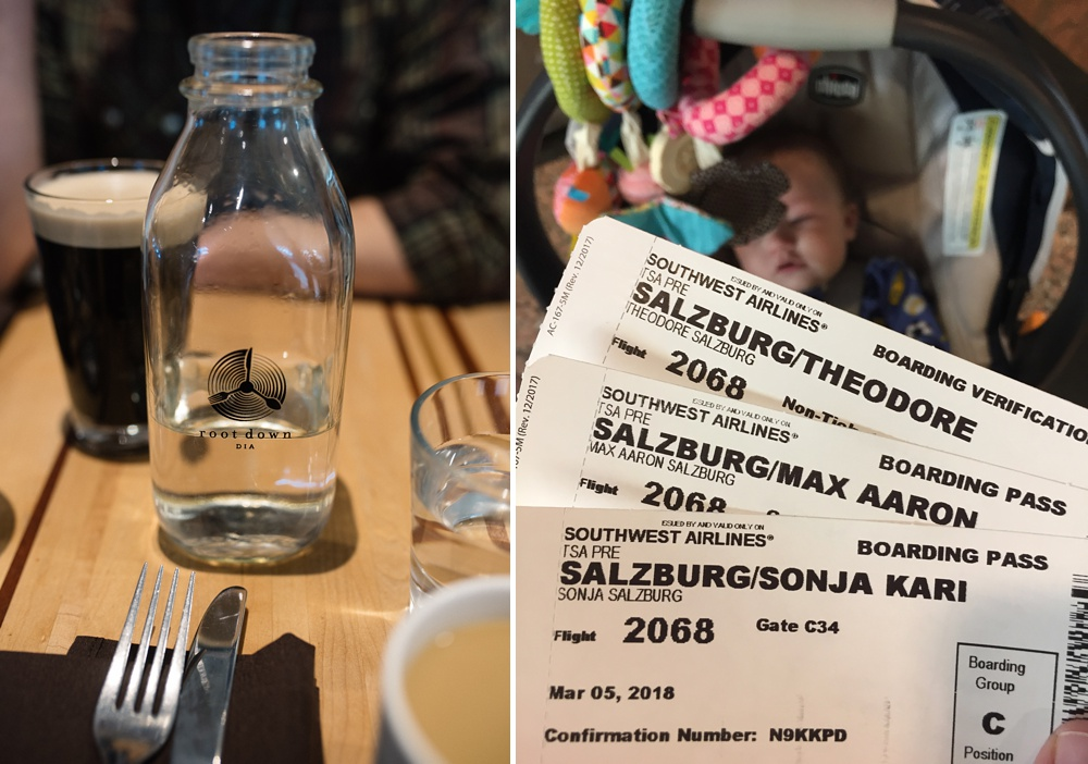 Breakfast at Root Down in DIA and our boarding passes. Travel photography by Sonja Salzburg of Sonja K Photography.