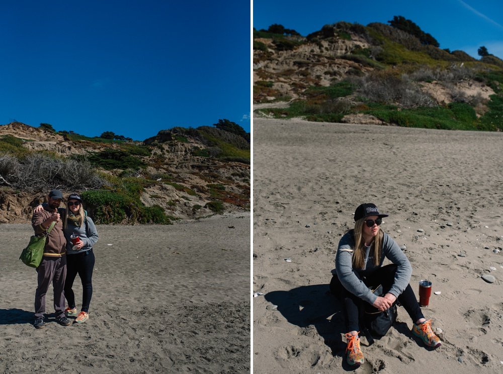 Hanging out on the beach at Fort Funston outside of San Francisco, California. Travel portrait photography by Sonja Salzburg of Sonja K Photography.