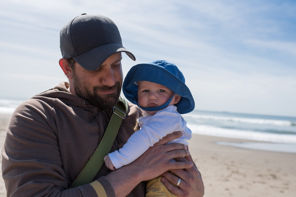 Max and Theo at Fort Funston beach outside of San Francisco, California. Family travel portrait photography by Sonja Salzburg of Sonja K Photography.