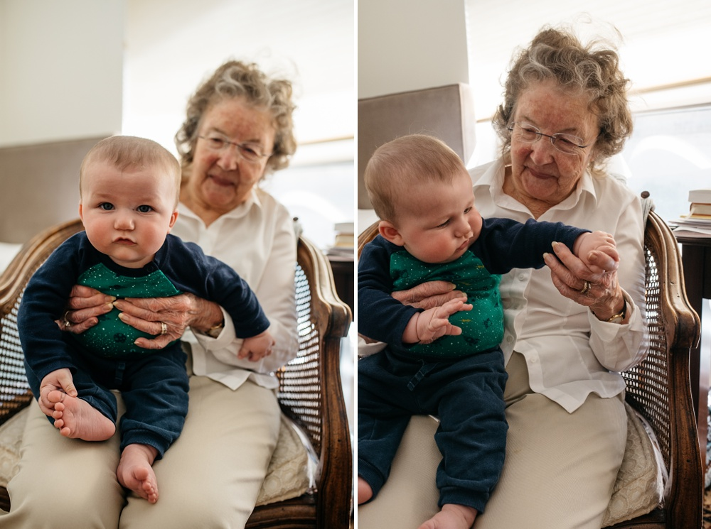 Theo and his great grandmother spend time together at her apartment in Portola Valley, California. Family travel portrait photography by Sonja Salzburg of Sonja K Photography.