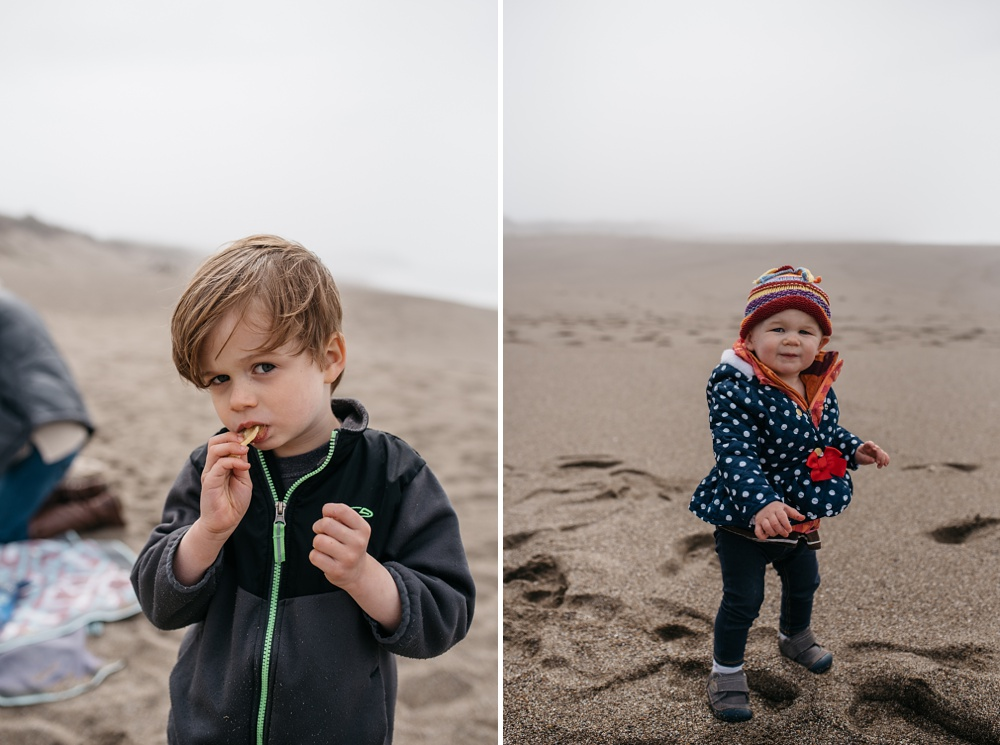 Children hang out at South Beach at Point Reyes National Seashore near Point Reyes Station, California. Family portrait photography by Sonja Salzburg of Sonja K Photography.
