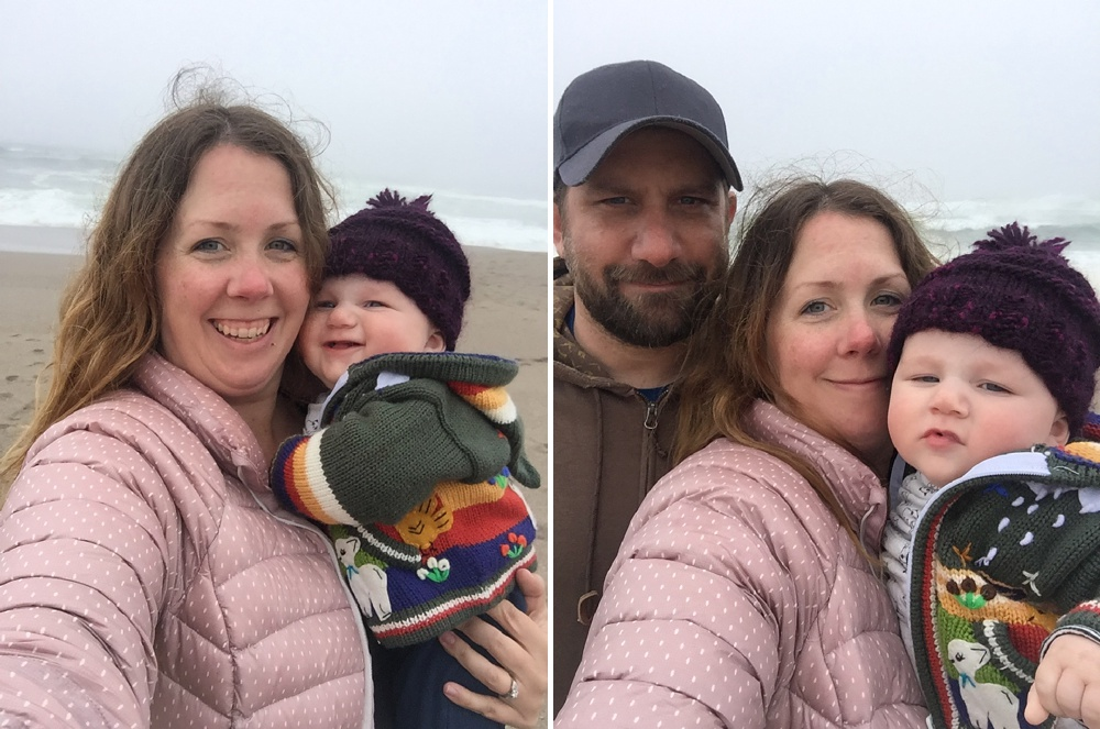 Max, Sonja, and Theodore Salzburg at South Beach on Point Reyes National Seashore in California. Family travel photography by Sonja Salzburg of Sonja K Photography.
