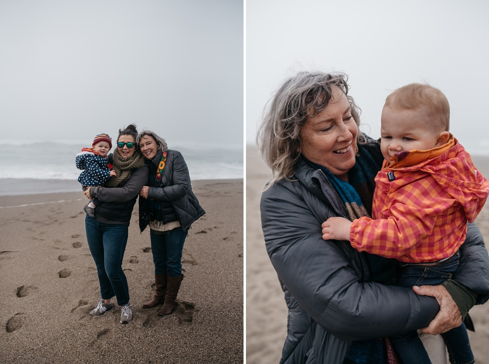 Three generations of women at Point Reyes National Seashore South Beach in California. Family travel portrait photography by Sonja Salzburg of Sonja K Photography.