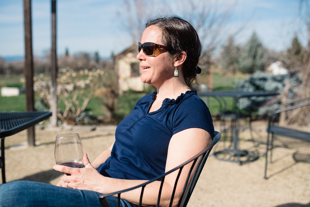 Our good friend Chrissy at the historic Voorhies Mansion on the EdenVale winey outside of Medford, Oregon. Travel portrait and food and beverage photography by Sonja Salzburg of Sonja K Photography.
