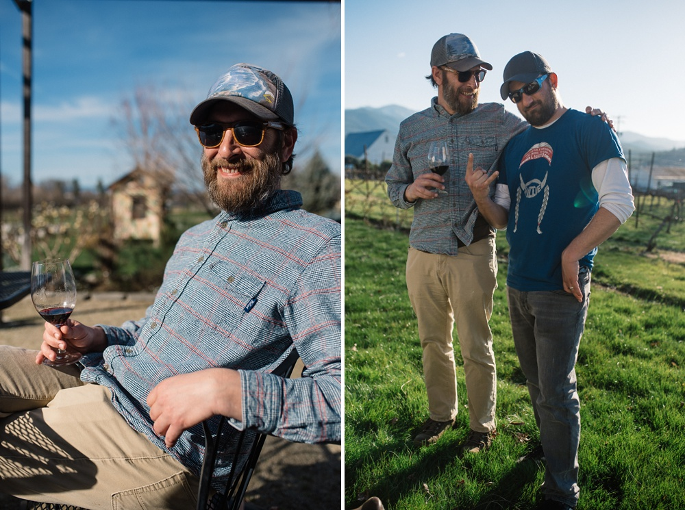 Charles and Max at the historic Voorhies Mansion on the EdenVale Winery outside of Medford, Oregon. Travel food and beverage portrait photography by Sonja Salzburg of Sonja K Photography.