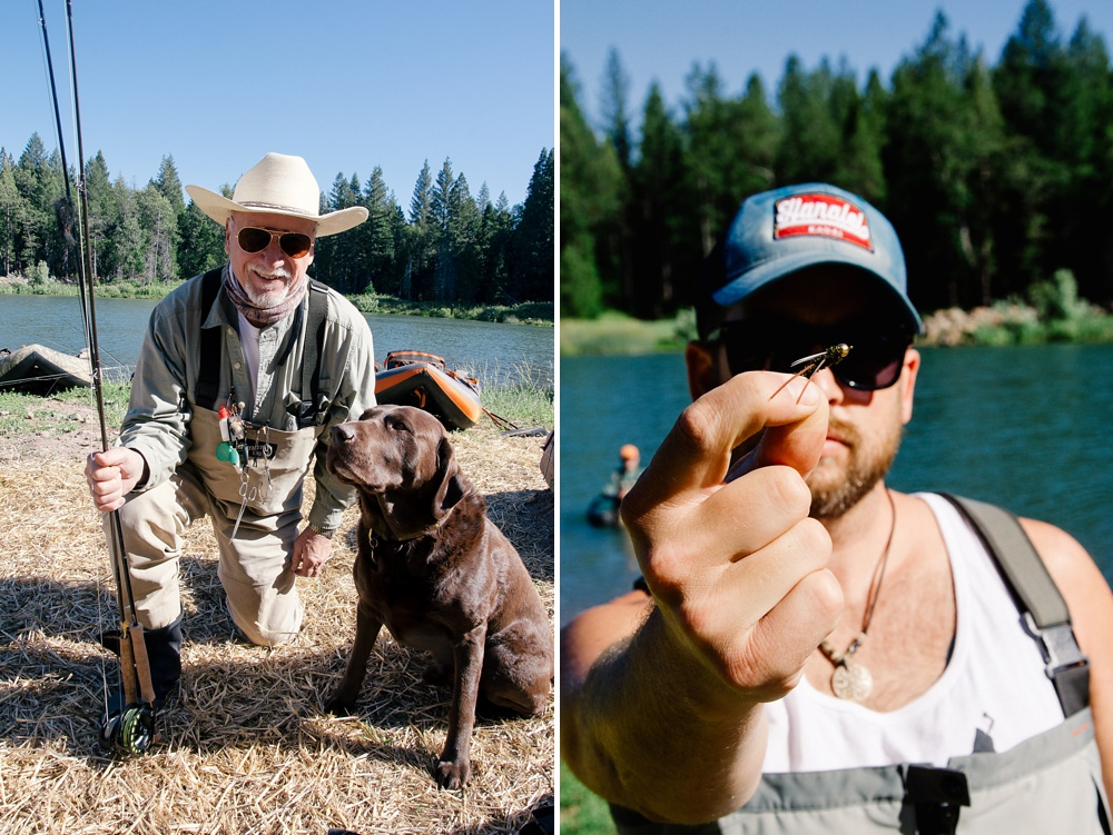 Buck the Dog and a Burk's Aggravator fly at Henderson Springs Ranch in California. Fly fishing destination travel photography by Max Salzburg of Sonja K Photography.